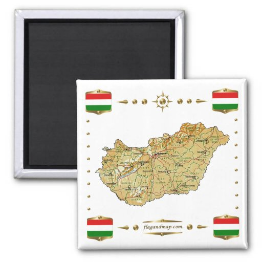 Hungary Map + Flags Magnet