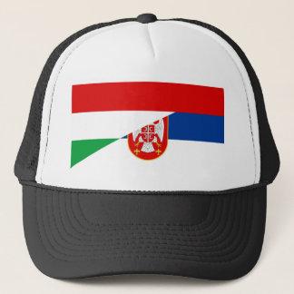 hungary serbia flag country half symbol trucker hat