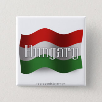 Hungary Waving Flag 15 Cm Square Badge