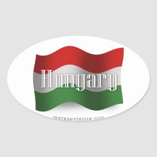 Hungary Waving Flag Oval Sticker
