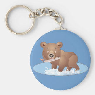 Hungry Bear Basic Round Button Key Ring