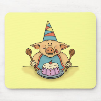 hungry birthday pig funny mousepad