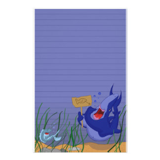 Hungry Blue Shark and Fish Stationery (Ruled)