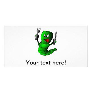 Hungry caterpillar cartoon photo card