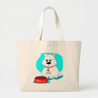 Hungry dog empty dish tote bag