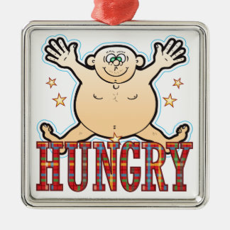 Hungry Fat Man Silver-Colored Square Decoration
