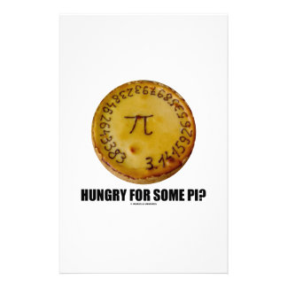 Hungry For Some Pi? (Pi On Baked Pie Humor) Custom Stationery
