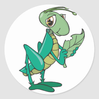 Hungry Grasshopper Round Sticker