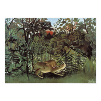 Hungry Lion by Henri Rousseau, Vintage Wild Animal 13 Cm X 18 Cm Invitation Card