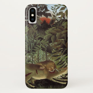 Hungry Lion by Henri Rousseau, Vintage Wild Animal iPhone X Case