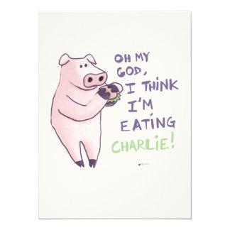 Hungry Pig 14 Cm X 19 Cm Invitation Card