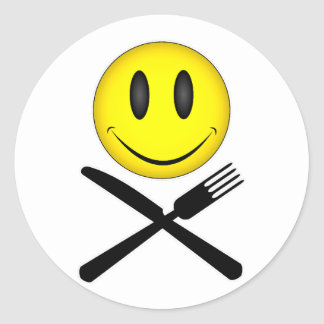 Hungry Smiley Round Sticker