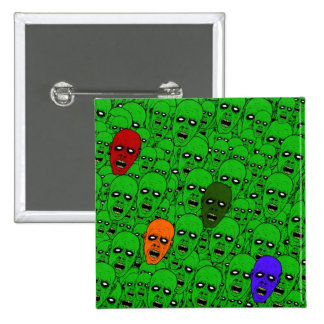 Hungry Undead Zombie Heads 15 Cm Square Badge
