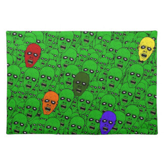 Hungry Undead Zombie Heads Place Mat