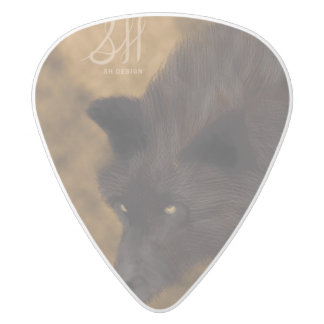 Hungry wolf guitar pick white delrin guitar pick