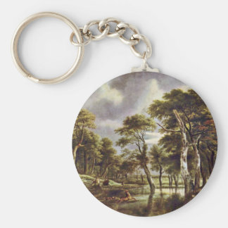 Hunt By Ruisdael Jacob Isaaksz. Van Basic Round Button Key Ring