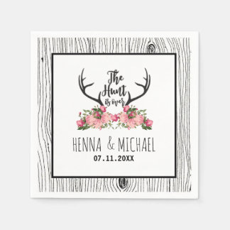 Hunt is Over Rustic Antler Barnwood Floral Wedding Paper Napkin