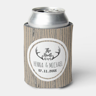 """Hunt is Over"" Rustic Antler Barnwood Wedding Can Cooler"