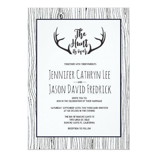 """""""Hunt is Over"""" Rustic Antler Barnwood Wedding Card"""