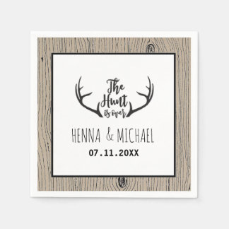 """Hunt is Over"" Rustic Antler Barnwood Wedding Disposable Serviettes"