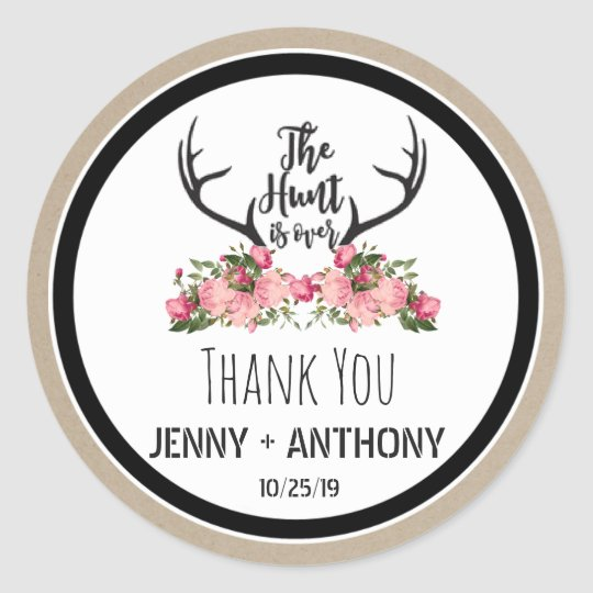 Hunt is Over Rustic Antler Floral Thank You