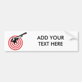 Hunter aiming rifle shotgun bulls eye high angle bumper sticker