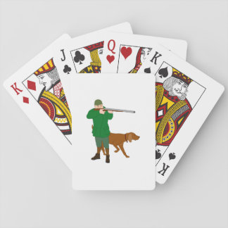 Hunter And A Dog Playing Cards