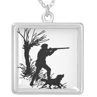 Hunter And Dog Silver Plated Necklace