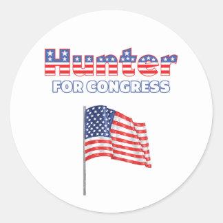 Hunter for Congress Patriotic American Flag Design Round Stickers