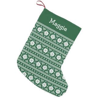 Hunter Green and White Fair Isle Monogram Small Christmas Stocking