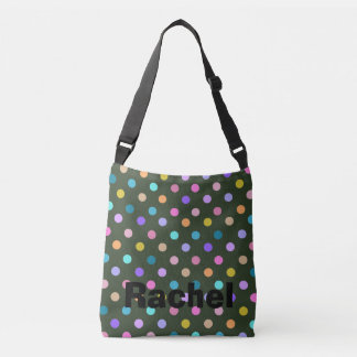Hunter green cute rainbow dots cross body bag