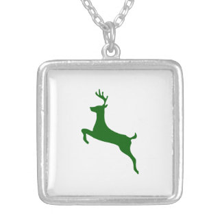 Hunter Green Deer Silhouette Silver Plated Necklace
