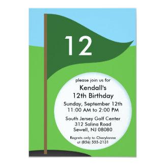 Hunter Green Let's Bogie Mini Golf Birthday Party 11 Cm X 16 Cm Invitation Card