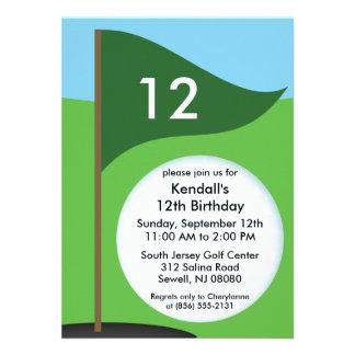 Hunter Green Let's Bogie Mini Golf Birthday Party Custom Invites