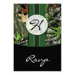 Hunter Green Monogram Camo Wedding RSVP Cards Personalised Invitations