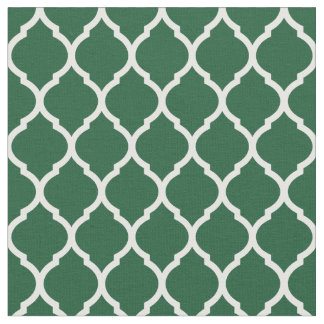 Hunter Green Moroccan Quatrefoil Fabric