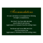 Hunter Green Orange Wedding Insert Reception Cards