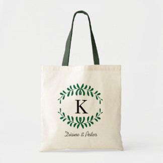 Hunter Green Personalized Monogram Party Favour Canvas Bag