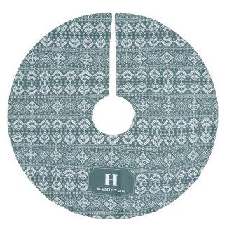 Hunter Green & White Sweater Pattern Monogram Brushed Polyester Tree Skirt