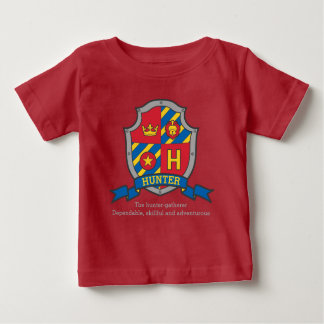 Hunter H name meaning crest knights shield Baby T-Shirt