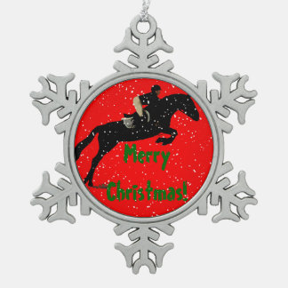 Hunter Jumper Horse Christmas Snowflake Pewter Christmas Ornament