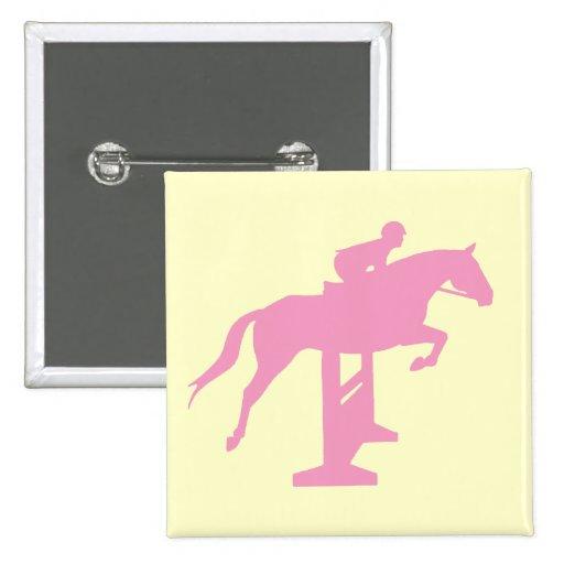 Hunter Jumper Horse & Rider (pink) 15 Cm Square Badge