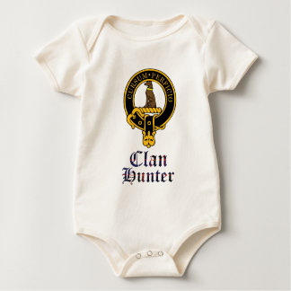 Hunter scottish crest and tartan clan name baby bodysuit