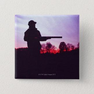 Hunter with Gun 15 Cm Square Badge