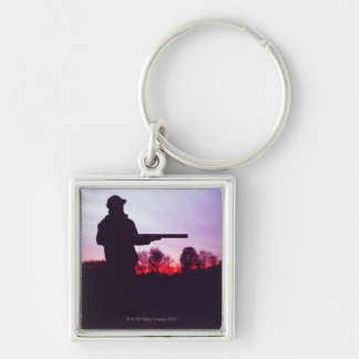 Hunter with Gun Silver-Colored Square Key Ring