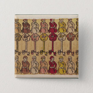 Hunters and birds perched in trees 15 cm square badge