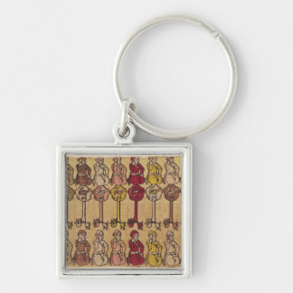 Hunters and birds perched in trees Silver-Colored square key ring