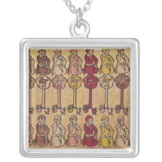 Hunters and birds perched in trees silver plated necklace