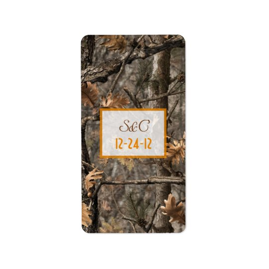 Hunter's Camo Chic Wedding Candy Wrapper Label