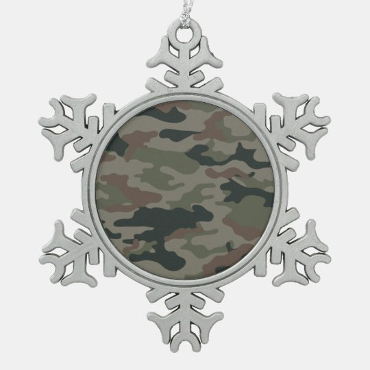 Hunters Camouflage Christmas Snowflake Decor Snowflake Pewter Christmas Ornament